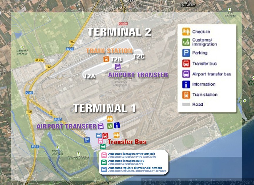 Sitges BCN Barcelona Airport Map