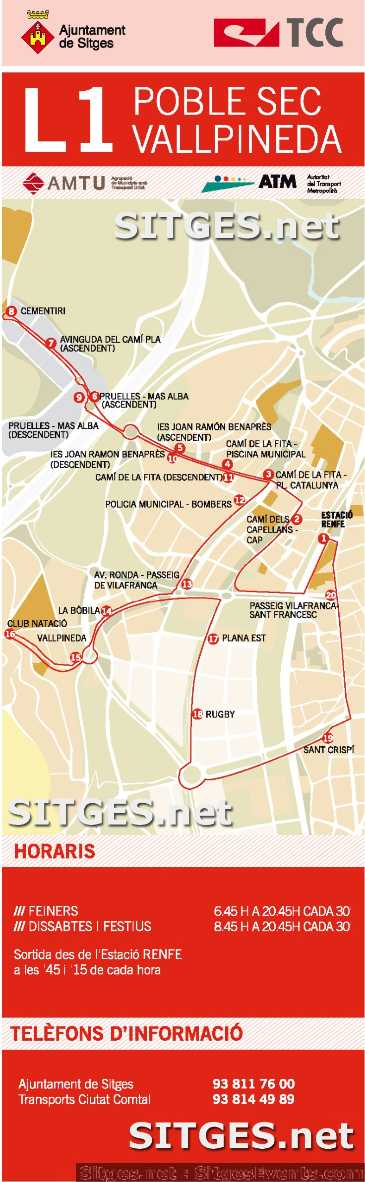Vallpineda Route Sitges L1 Buses