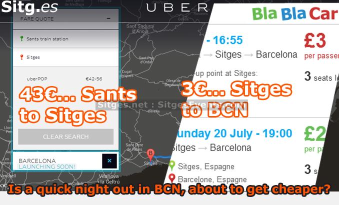 uber cabs blablacar sitges barcelona