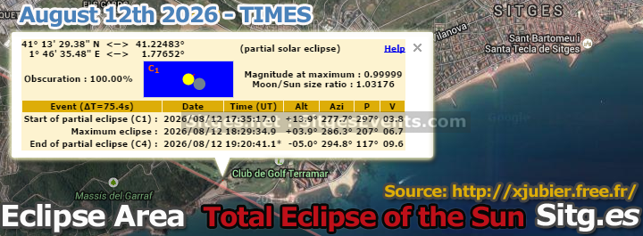 sitges eclipse times