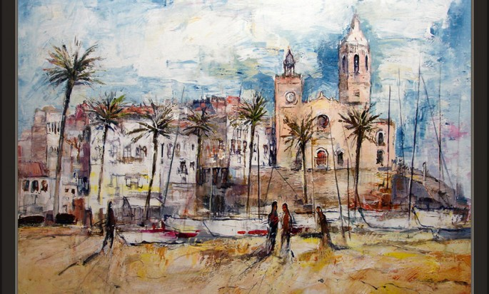 Sitges Church Painting Ernest Descals